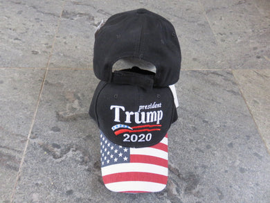 *SHIPS OUT JUNE 25th* President Trump 2020 Black Stars And Stripes - Cap
