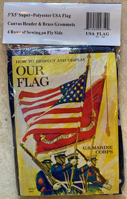 Made In The USA American Super Polyester 3'X5' Flag With Instruction Booklet Included
