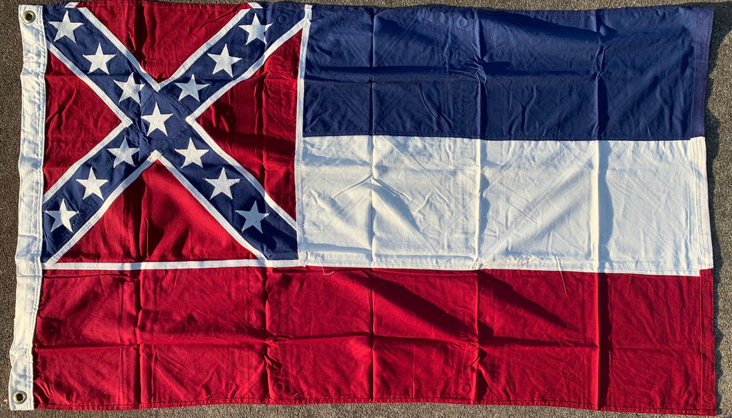 Antique Mississippi Vintage CS Navy Jack 3'X5' Flag Rough Tex® Cotton Made In The USA