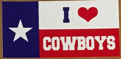 I LOVE COWBOYS (TEXAS STATE FLAG) OFFICIAL BUMPER STICKER PACK OF 50 BUMPER STICKERS MADE IN USA WHOLESALE BY THE PACK OF 50!