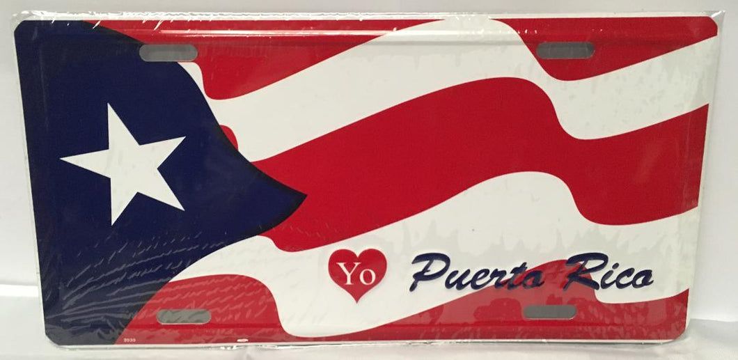 I Love Puerto Rico Flag License Plate