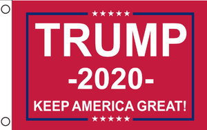 3'X5' 68D NYLON TRUMP 2020 KAG RED FLAG DBL SIDED