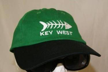 12 KEY WEST CAP WASHED FADED GREEN FISH BONES