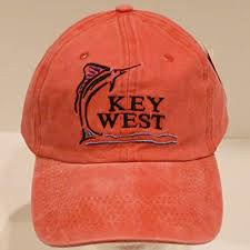 12 KEY WEST CAP WASHED FADED ORANGE MARLIN caps sold by the dozen