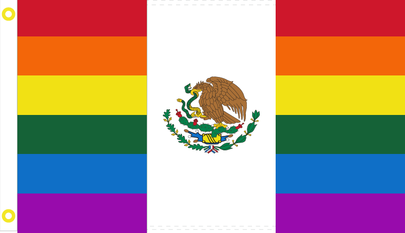MEXICAN PRIDE RAINBOW (GAY) FLAG OF MEXICO OFFICIAL LGBT MX 3'X5'