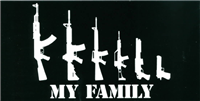 MY FAMILY GUNS 2ND AMENDMENT Bumper Sticker sold by the pack of 50