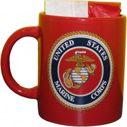 Marines Emblem Mug (Red) with Flag