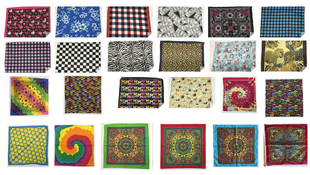 Collection One Of Assorted Fashion Bandana Head Wrap In Various Patterns And Designs 100% Cotton 22