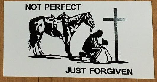 NOT PERFECT COWBOY HORSEBACK OFFICIAL BUMPER STICKER PACK OF 50 BUMPER STICKERS MADE IN USA WHOLESALE BY THE PACK OF 50!