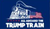 3'X5' 100D  ALL ABOARD TRUMP TRAIN BLUE FLAG