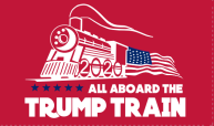 3'X5' 100D  ALL ABOARD TRUMP TRAIN RED FLAG
