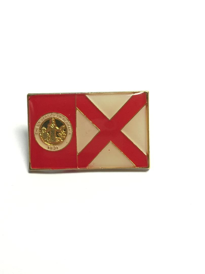 UNIVERSITY OF ALABAMA SEAL & BAMA STATE FLAG Cloisonne Lapel Pins