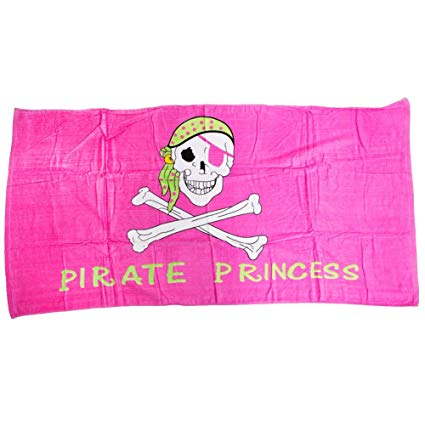 pirate princess flag beach towel