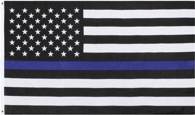 POLICE THIN BLUE LINE BLACK AND WHITE AMERICAN FLAG 2.5X4 2-PLY POLYESTER