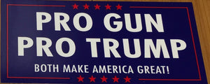"PRO GUN PRO TRUMP ""BOTH MAKE AMERICA GREAT!"" OFFICIAL BUMPER STICKER PACK OF 50 BUMPER STICKERS MADE IN USA WHOLESALE BY THE PACK OF 50!"