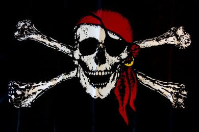 PIRATE RED HAT JOLLY ROGER BANDANA FLAG 12X18 INCH STICK FLAGS ROUGH TEX 100D