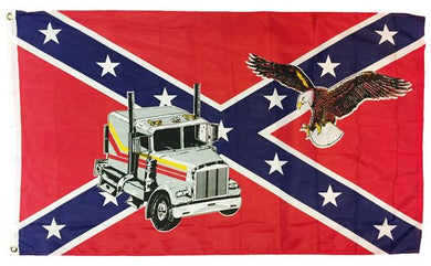 REBEL TRUCKER FLAG POLYESTER 3X5