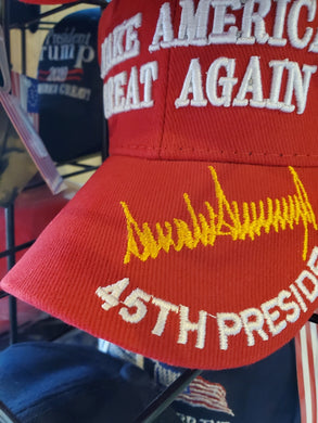 MAKE AMERICA GREAT AGAIN 45TH PRESIDENT MAGA RED WITH GOLD SIGNATURE CAP