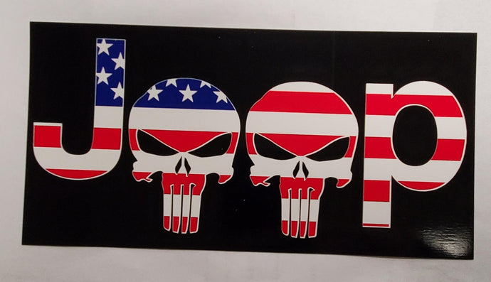 Jeep Punisher Stars & Stripes Bumper Sticker