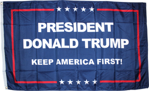 PRESIDENT DONALD TRUMP KEEP AMERICA FIRST FLAG 100D 3X5 ROUGH TEX ®