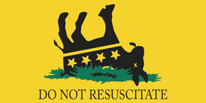 DO NOT RESUSCITATE DEMOCRAT OFFICIAL DNC GADSDEN YELLOW BUMPER STICKERS PACK OF 50 WHOLESALE