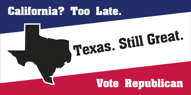 TEXAS STILL GREAT VOTE REPUBLICAN CALIFORNIA TOO LATE OFFICIAL BUMPER STICKERS PACK OF 50 WHOLESALE