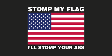 STOMP MY FLAG I'LL STOMP YOUR ASS USA FLAG AMERICAN PATRIOT PRO USA BUMPER STICKERS PACK OF 50 WHOLESALE