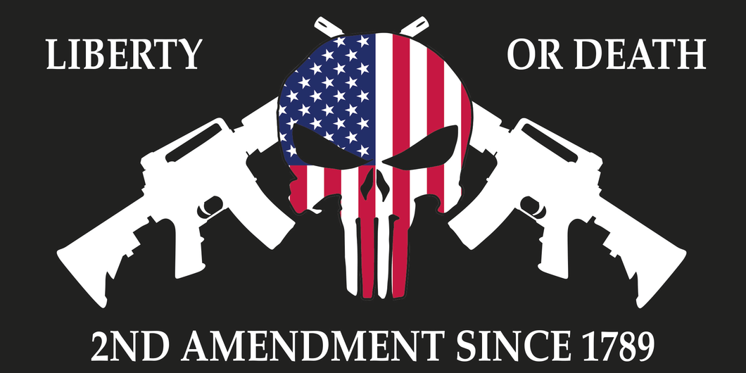 LIBERTY OR DEATH PATRIOT AMERICAN SKULL 2ND AMENDMENT 1789 BUMPER STICKER PACK OF 50 WHOLESALE