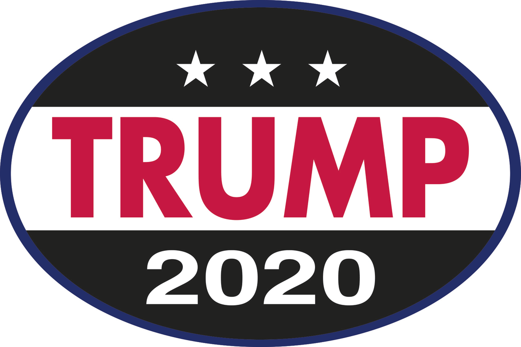 TRUMP 2020 RED WHITE BLACK OVAL TACTICAL OFFICIAL BUMPER STICKERS PACK OF 50 WHOLESALE