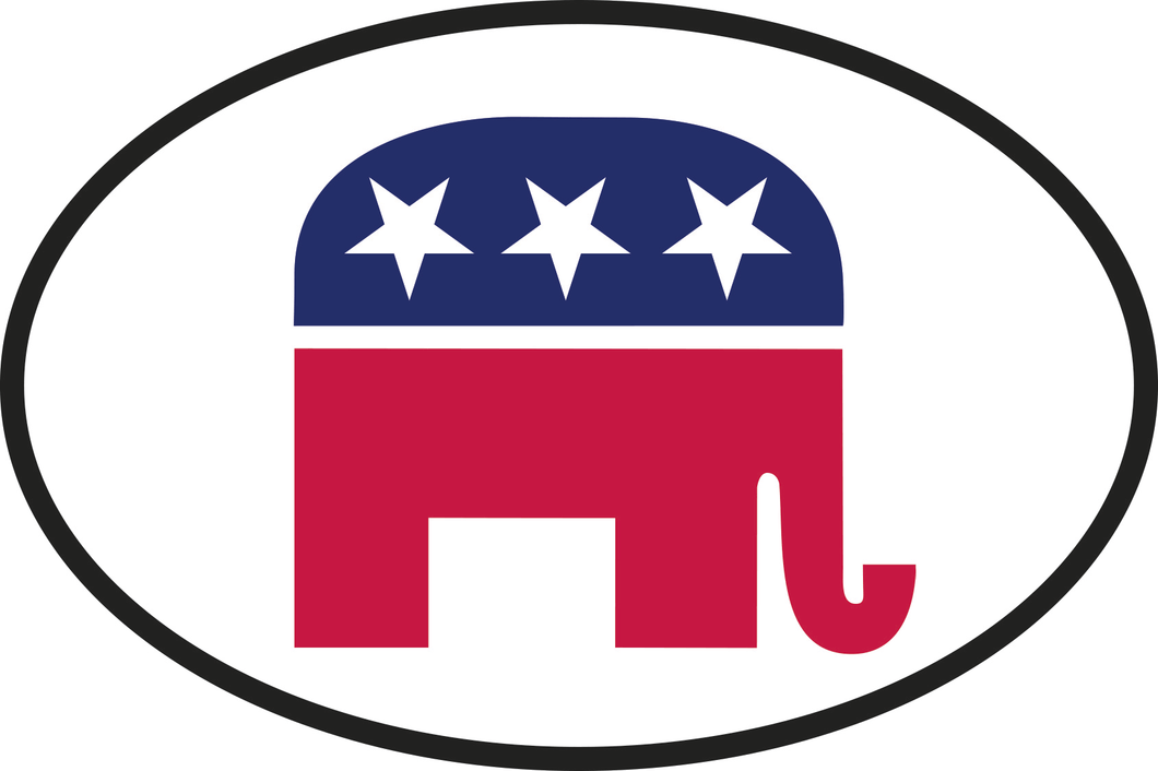 GOP REPUBLICAN NATIONAL OVAL AMERICAN OFFICIAL BUMPER STICKERS PACK OF 50 WHOLESALE