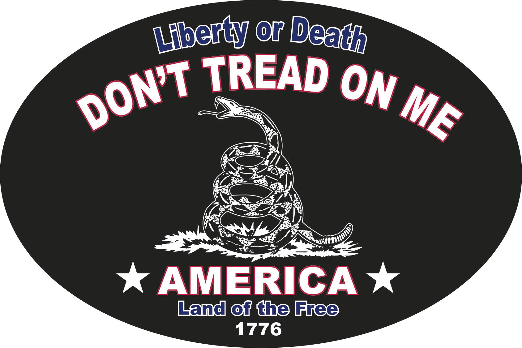 LIBERTY OR DEATH AMERICA OVAL LAND OF THE FREE 1776 PATRIOT BLACK TACTICAL  DON'T TREAD ON ME BUMPER STICKERS PACK OF 50 WHOLESALE