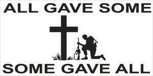 ALL GAVE SOME CHRISTIAN SOME GAVE ALL MILITARY WHITE OFFICIAL BUMPER STICKERS PACK OF 50 WHOLESALE