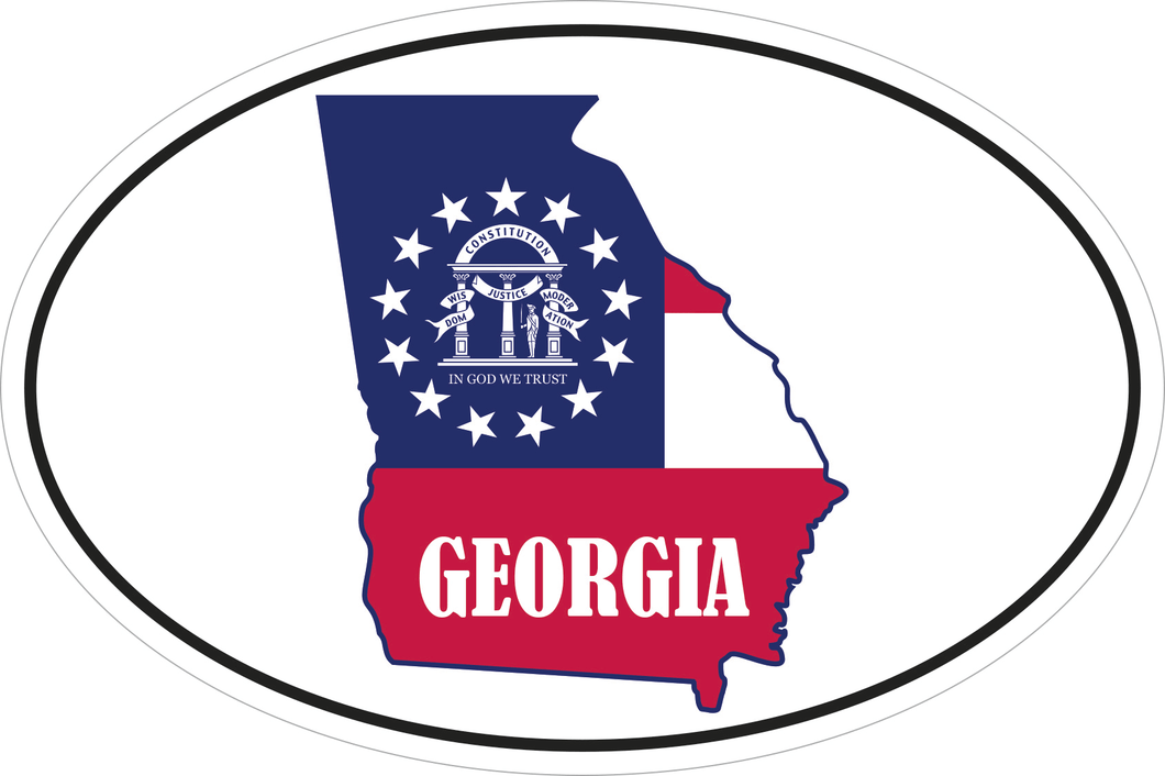 GEORGIA STATE OFFICIAL FLAG OVAL #2 OFFICIAL GA BUMPER STICKERS PACK OF 50 WHOLESALE