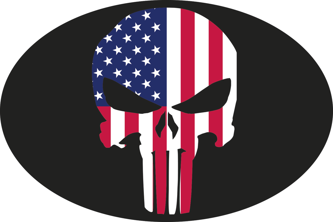 AMERICAN FLAG SKULL OVAL OFFICIAL BUMPER STICKERS PACK OF 50 WHOLESALE