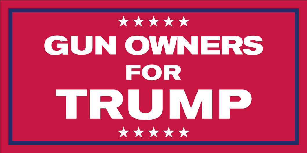 GUN OWNERS FOR TRUMP RED OFFICIAL BUMPER STICKER PACK OF 50 WHOLESALE FULL COLOR