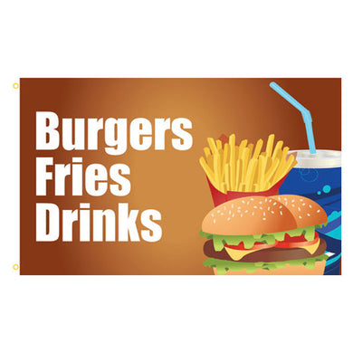 Burgers Fries Drinks Business Flag 3x5ft 100D