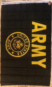 UNITED STATES ARMY BLACK & GOLD HISTORICAL FLAG 3'X5' SUPER POLY EXTREME