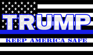 USA Police Memorial Trump KAS Keep America Safe 3'X5' Flag Rough Tex® 150D Nylon