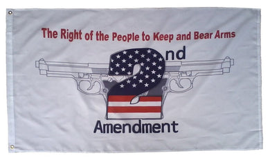 RIGHT TO BARE ARMS 2ND AMENDMENT WHITE FLAG 3X5 POLYESTER