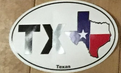 TEXAS ABBREVIATION AND STATE OUTLINE (OVAL SHAPED) OFFICIAL BUMPER STICKER PACK OF 50 BUMPER STICKERS MADE IN USA WHOLESALE BY THE PACK OF 50!