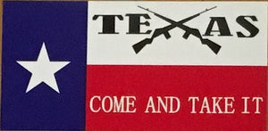 "TEXAS ""COME AND TAKE IT"" OFFICIAL BUMPER STICKER PACK OF 50 BUMPER STICKERS MADE IN USA WHOLESALE BY THE PACK OF 50!"