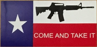 TEXAS COME AND TAKE IT WITH GUN OFFICIAL BUMPER STICKER PACK OF 50 BUMPER STICKERS MADE IN USA WHOLESALE BY THE PACK OF 50!