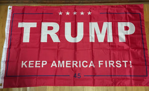 12 TRUMP KEEP AMERICA FIRST RED 45 FLAG 3'X5' FLAGS BY THE DOZEN WHOLESALE PER DESIGN!