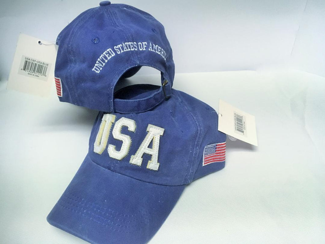 USA CAP AMERICAN WASHED BLUE USA FLAG
