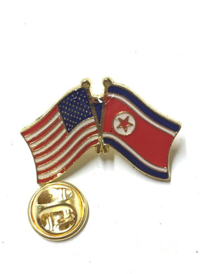 AMERICAN USA FLAG & NORTH KOREA FRIENDSHIP PIN Cloisonné Hat Lapel