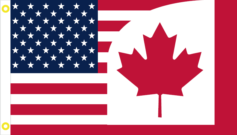 USA CANADA #2 FRIENDSHIP AMERICAN CANADIAN OFFICIAL FLAG 3X5 COMBINATION