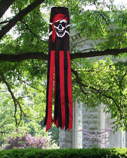 JOLLY ROGER PIRATE RED BANDANNA PRINTED Flag Wind Sock