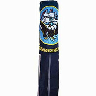 NAVY EMBROIDERED Flag Wind Sock