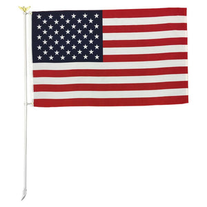 6' Foot White Steel Flag Pole Set With Gold Eagle Decoration