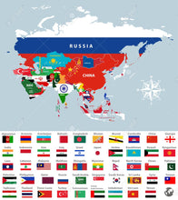 Asian Nations Flags Economical sold by the dozen 3'x5'